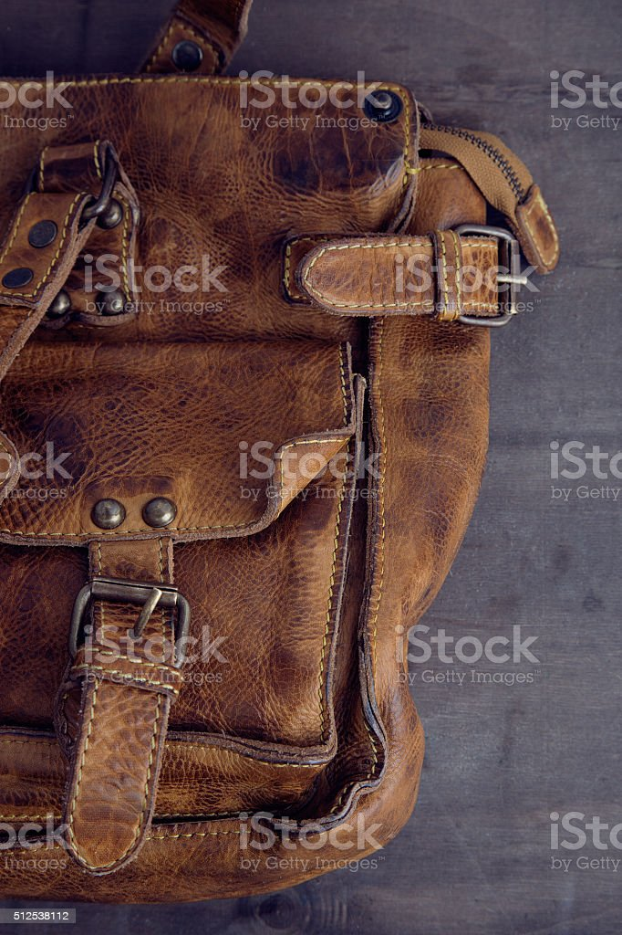 Vintage leather bag detail stock photo