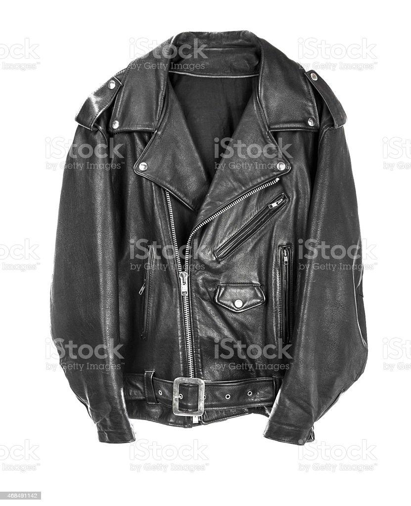 Vintage Leather biker jacket isolated on white stock photo