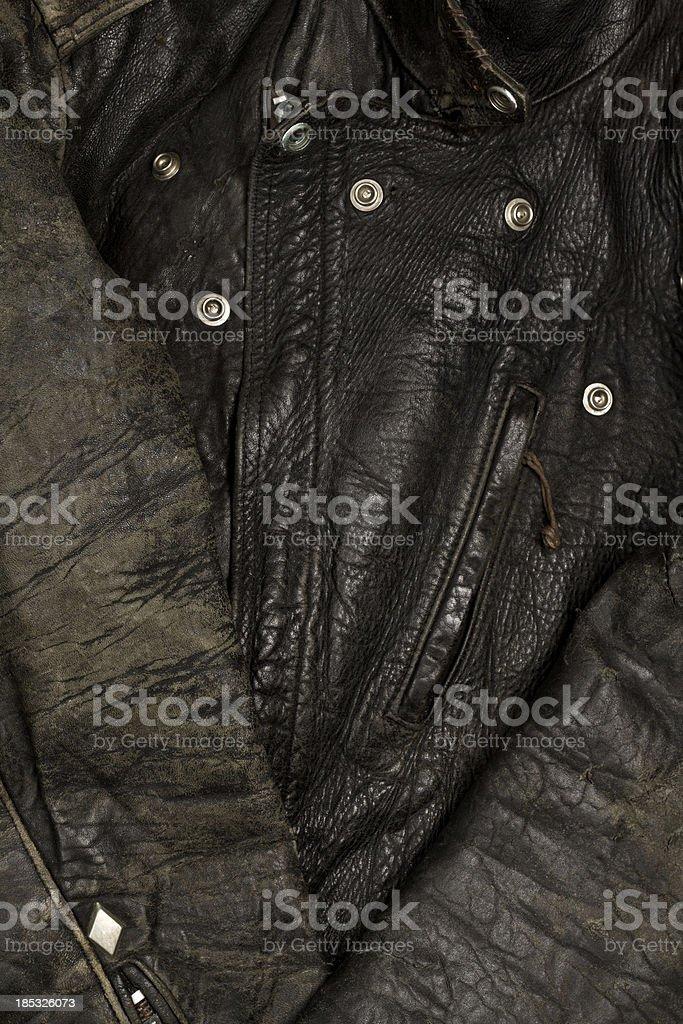 Vintage leather biker jacket stock photo