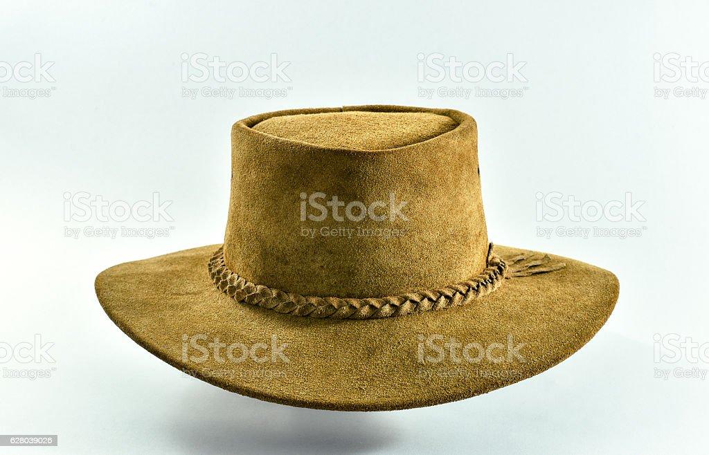 Vintage leather cowboy hat. stock photo