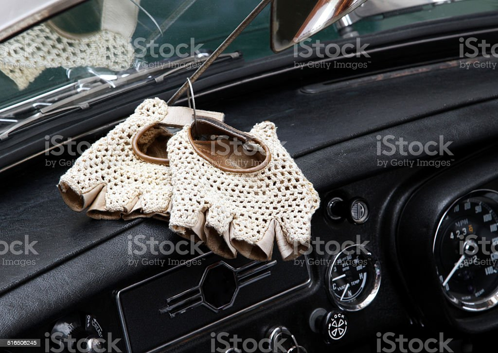 vintage leather gloves for the vintage car race stock photo