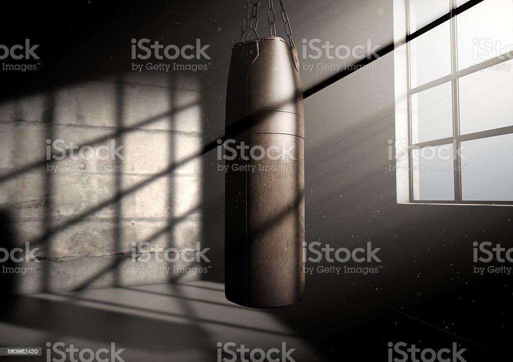 Vintage Leather Punching Bag stock photo