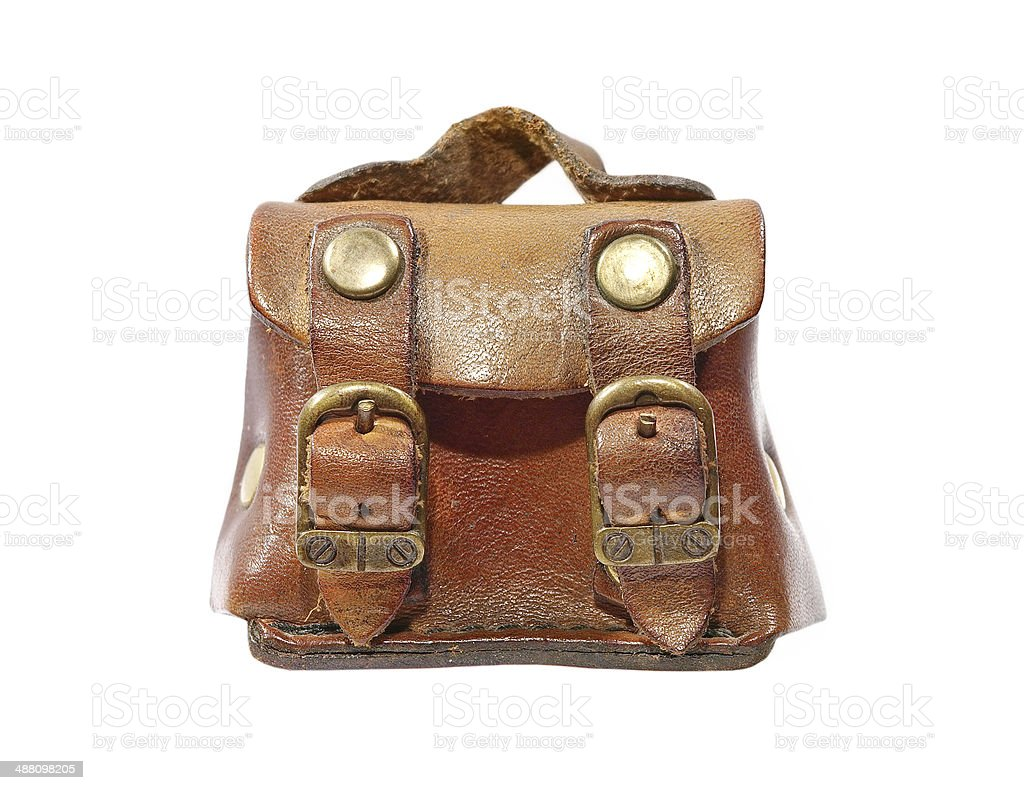 Vintage leather toy bag taken closeup.Isolated. royalty-free stock photo