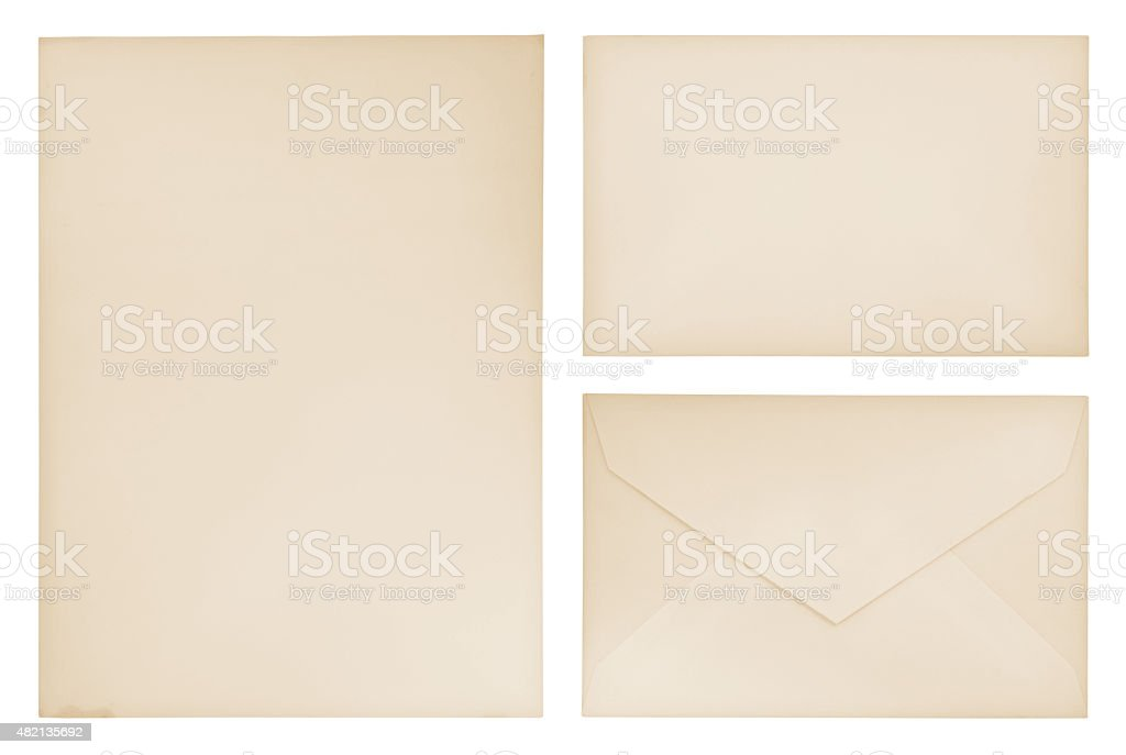 Vintage Letter Paper, envelope and card (with path) stock photo