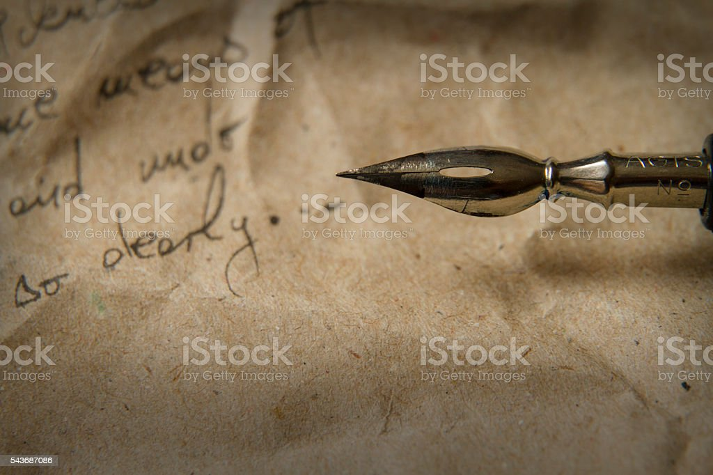 Vintage letter with quill pen stock photo