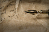 Vintage letter with quill pen