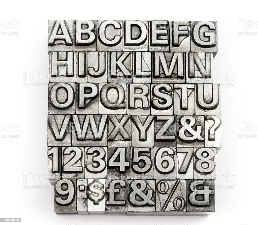 vintage letterpress alphabet and number background stock photo