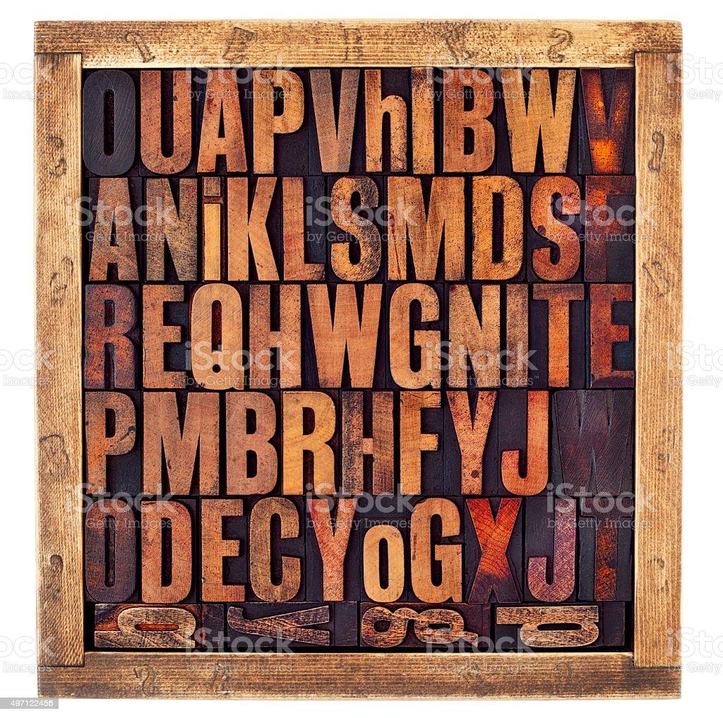 vintage letterpress alphabet letters stock photo
