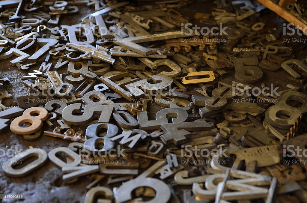 Vintage letterpress numbers and letters stock photo