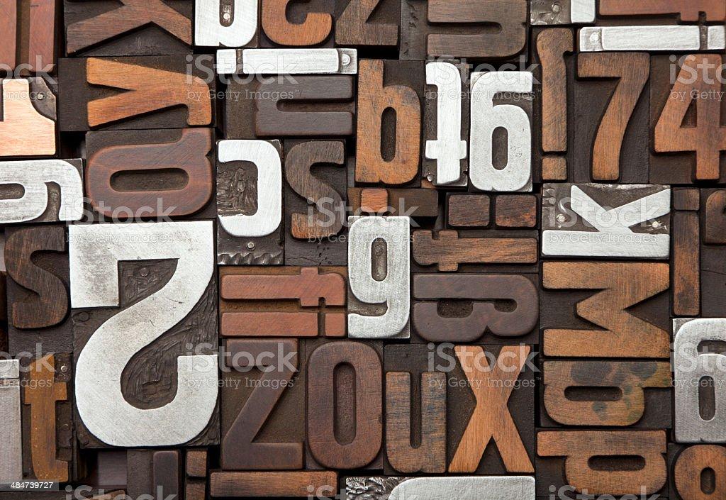Vintage letterpress type background stock photo