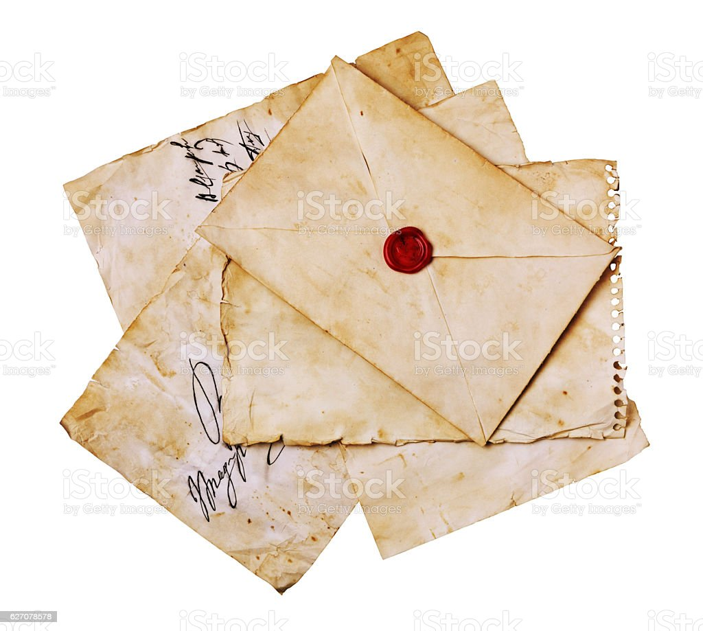 Vintage letters and envelope with seal wax stock photo