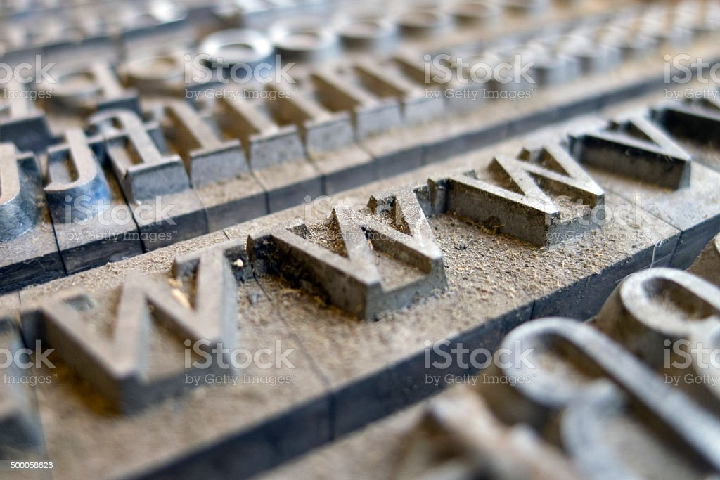 vintage letters from vintage press stock photo