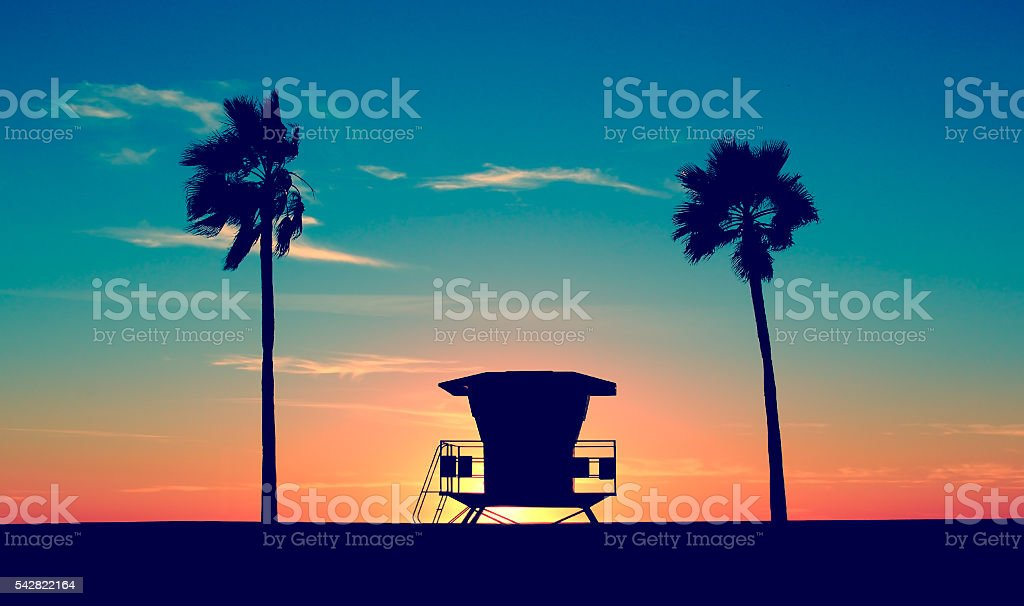 Vintage Lifeguard Tower stock photo