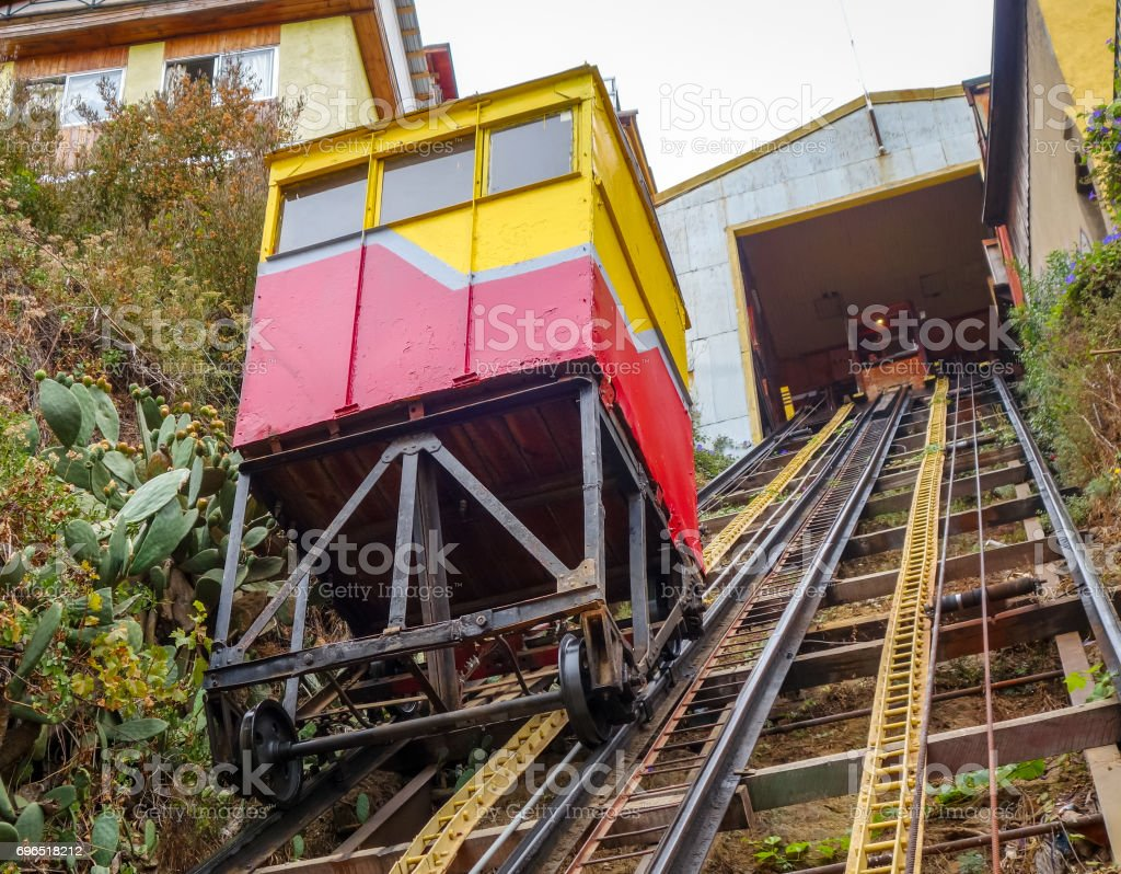 Vintage lift in Valparaiso, Chile stock photo