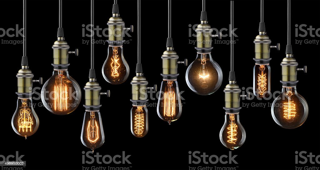 Vintage light bulbs stock photo