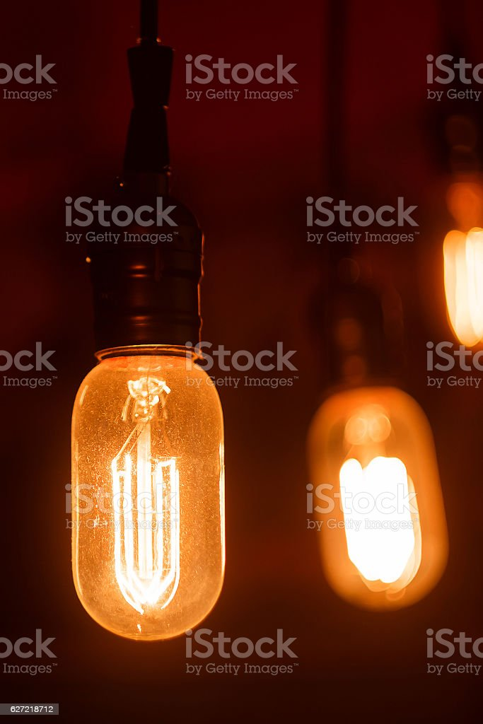 Vintage light bulbs with glower filament. Incandescent, retro design. stock photo