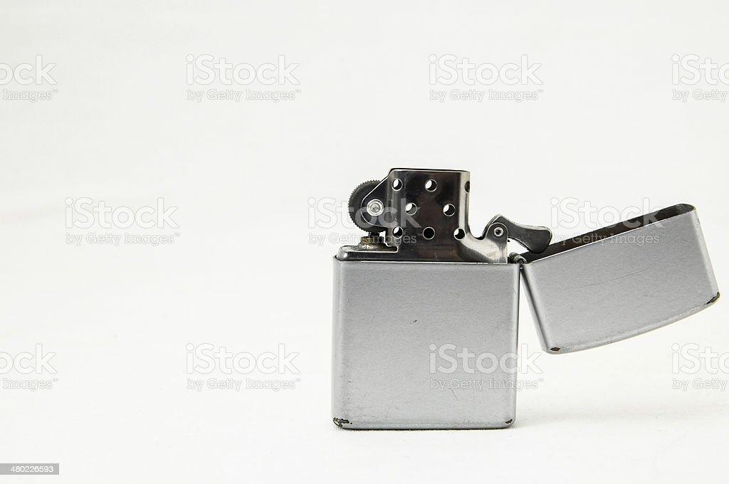 Vintage Lighter On White Background stock photo