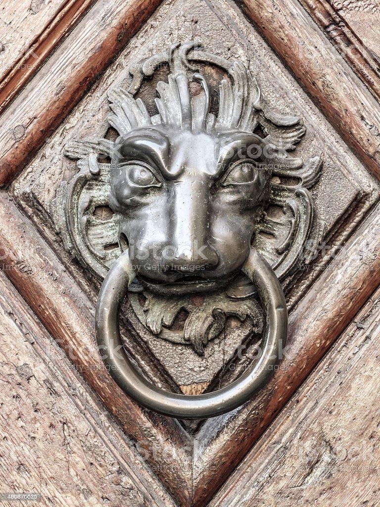 Retro-Löwe Türklinke auf alten Tür Hintergrund Lizenzfreies stock-foto