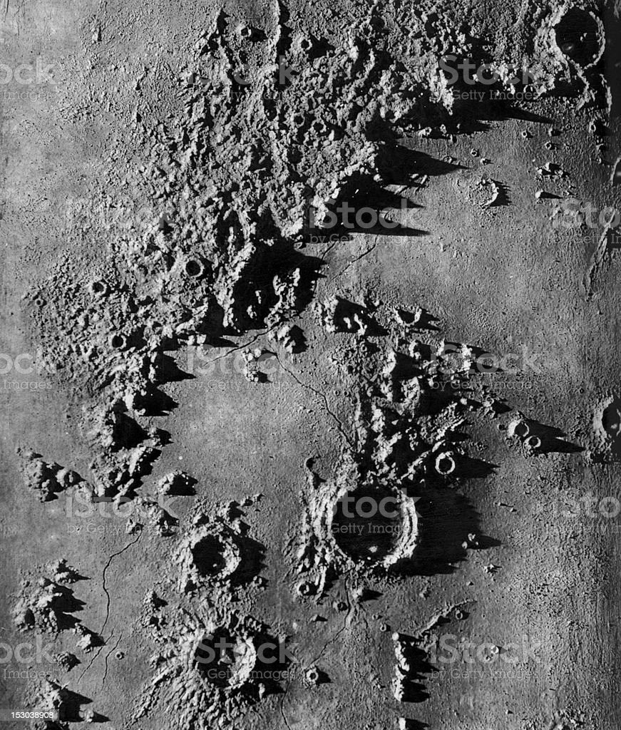 Vintage Lithograph of Lunar Appenines on Moon Surface stock photo