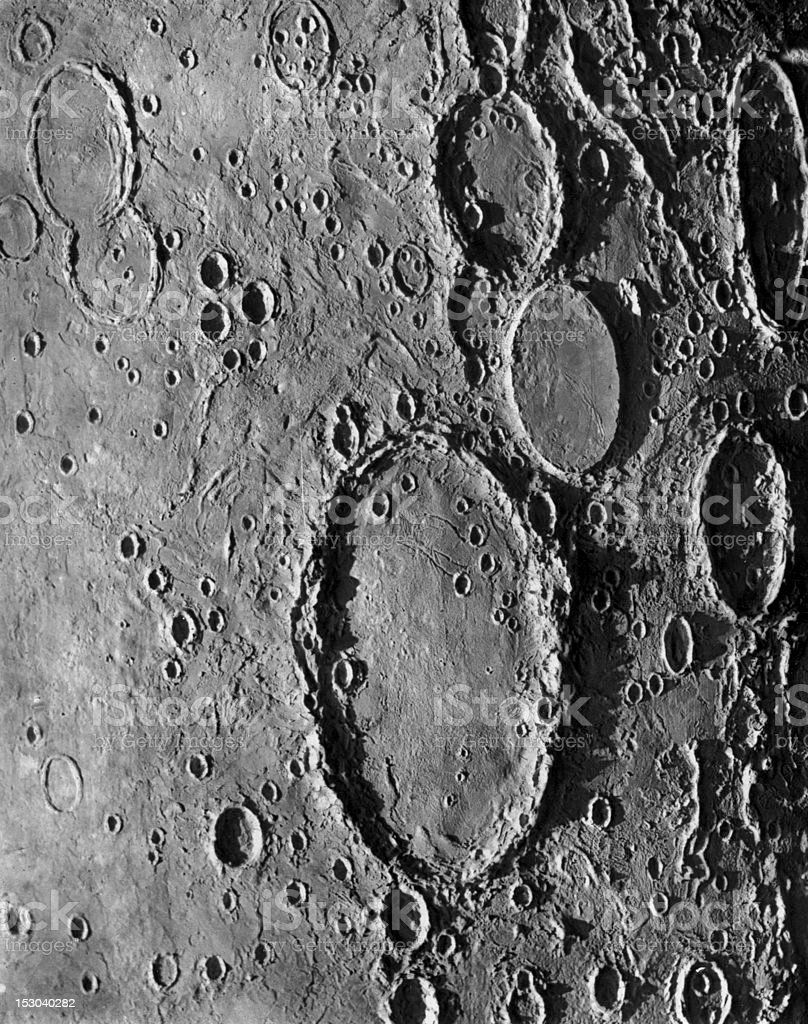 Vintage Lithograph of Wargentin Crater on Moon stock photo