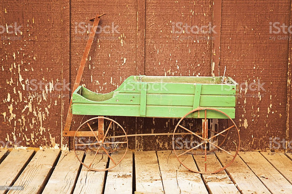 Vintage Little Green Wagon royalty-free stock photo