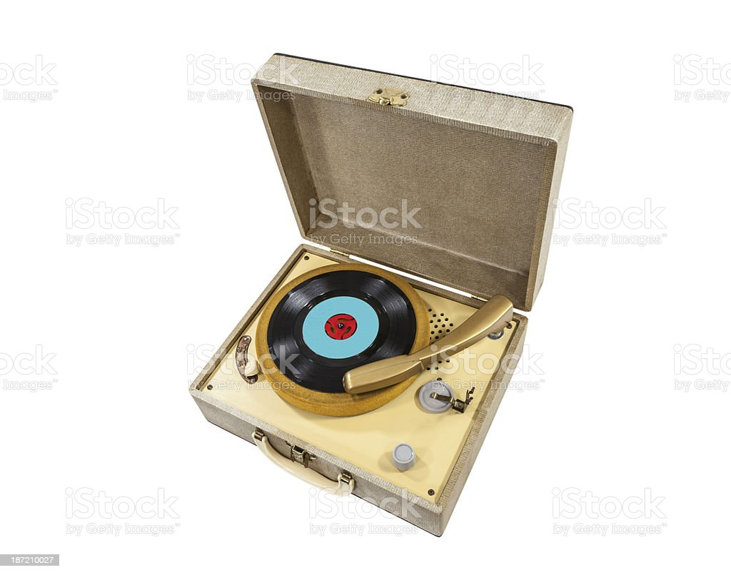 Vintage Little Record Player In A Box royalty-free stock photo