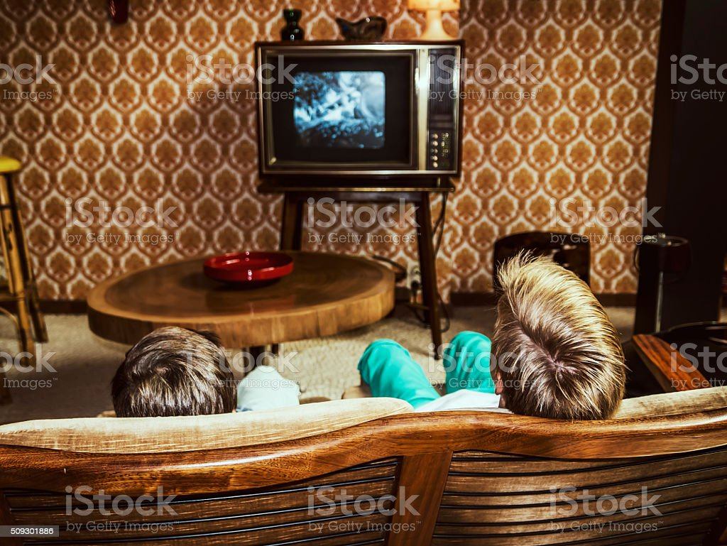 vintage living room stock photo