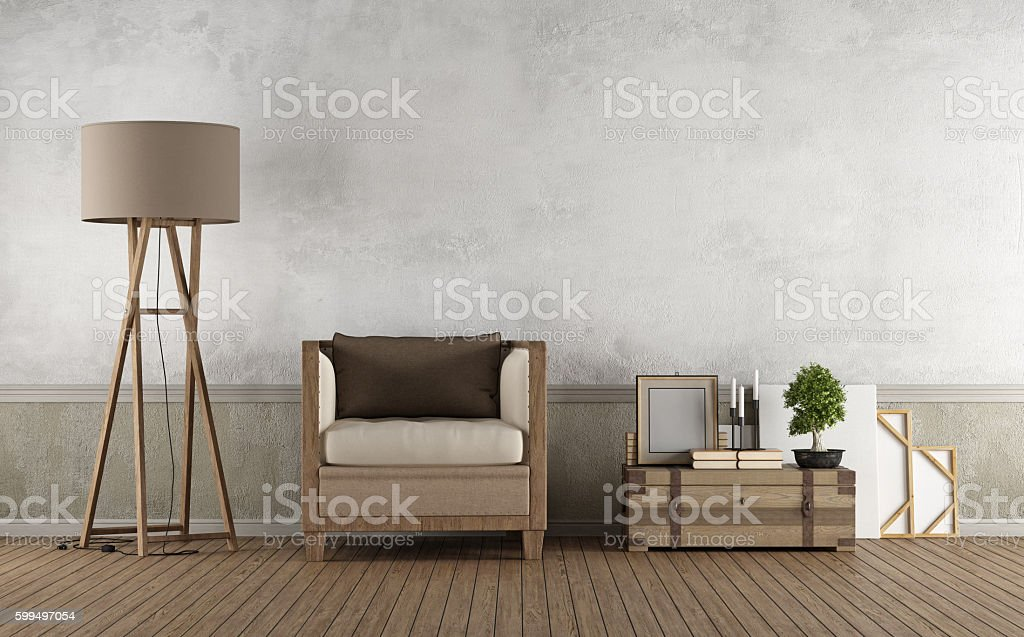 Vintage living room with wooden armchair stock photo