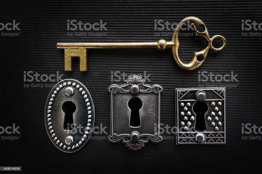 Vintage locks and key stock photo