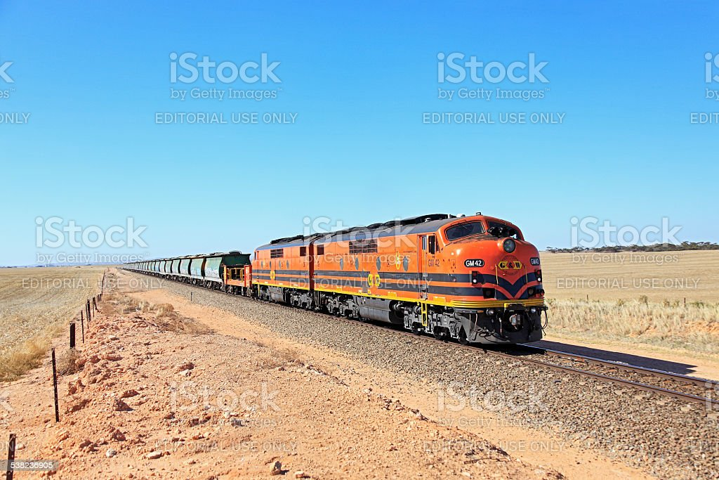 Vintage locos with grain train in 2015 (wide angle) stock photo
