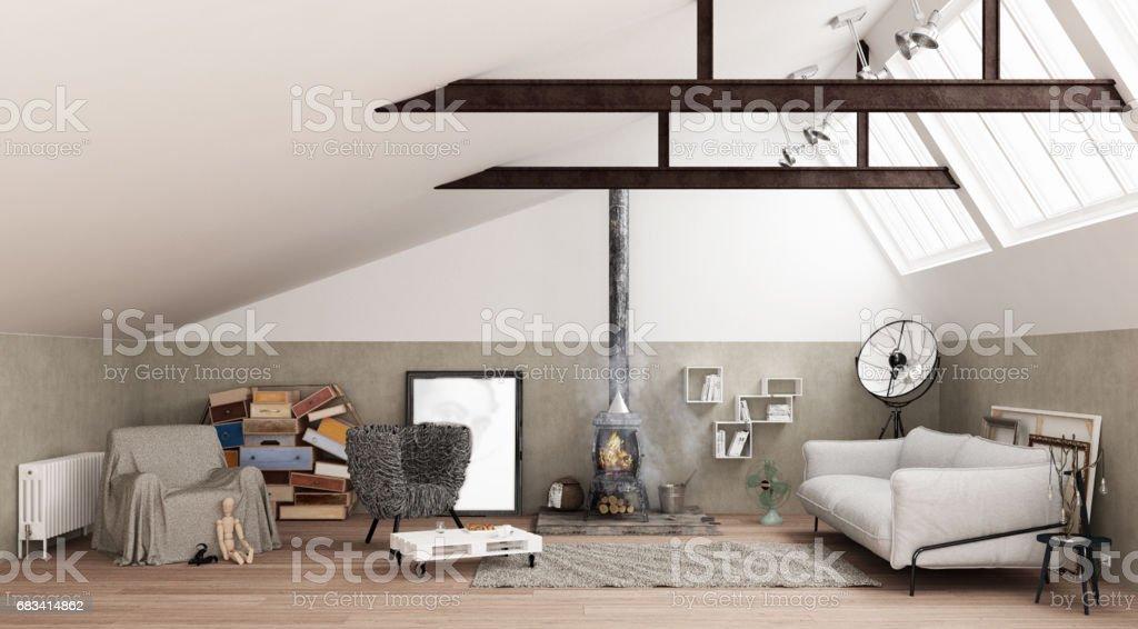 Vintage loft living room with old iron stove, modern interior design