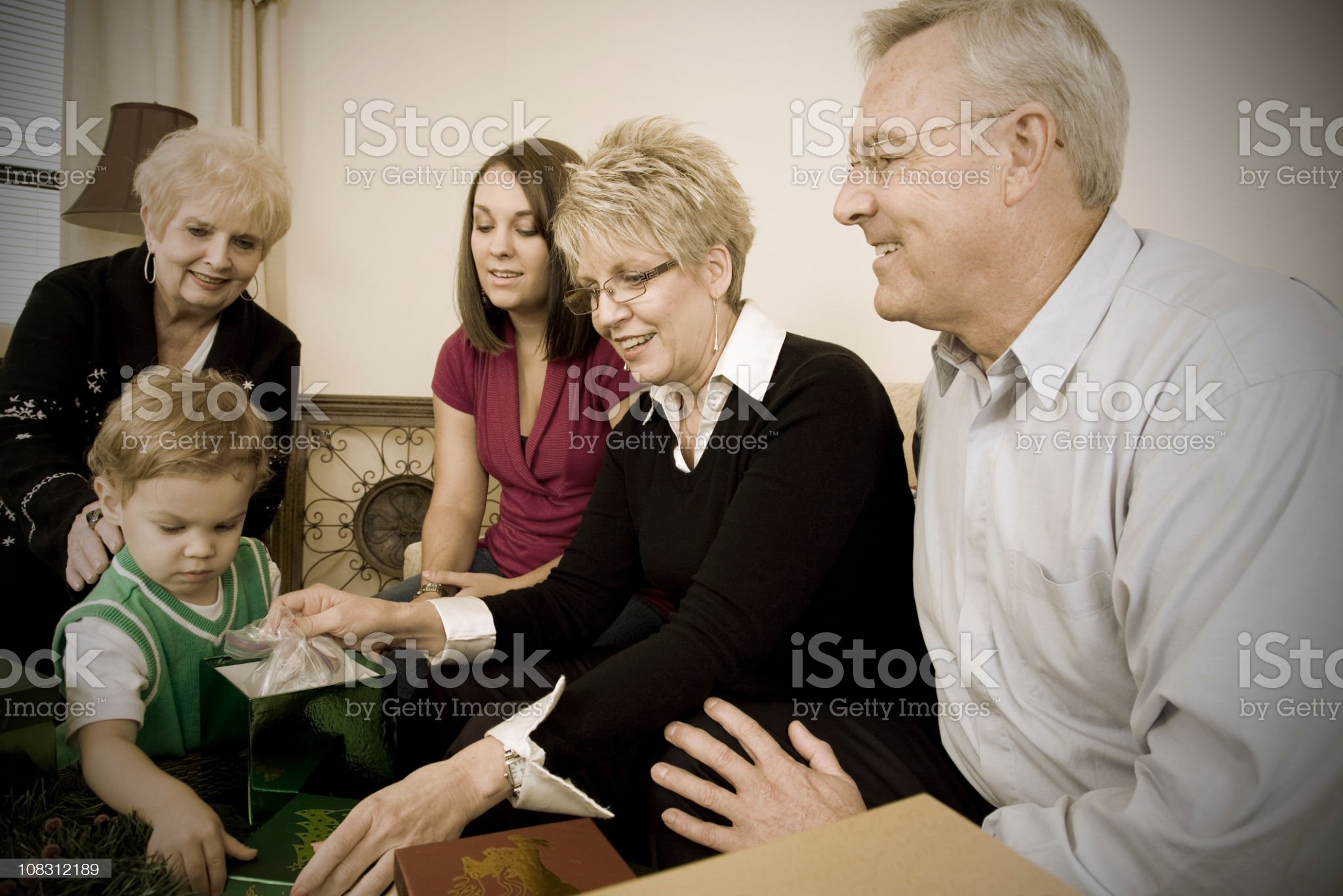 Vintage Look of Multi-Generational Family at Christmas royalty-free stock photo