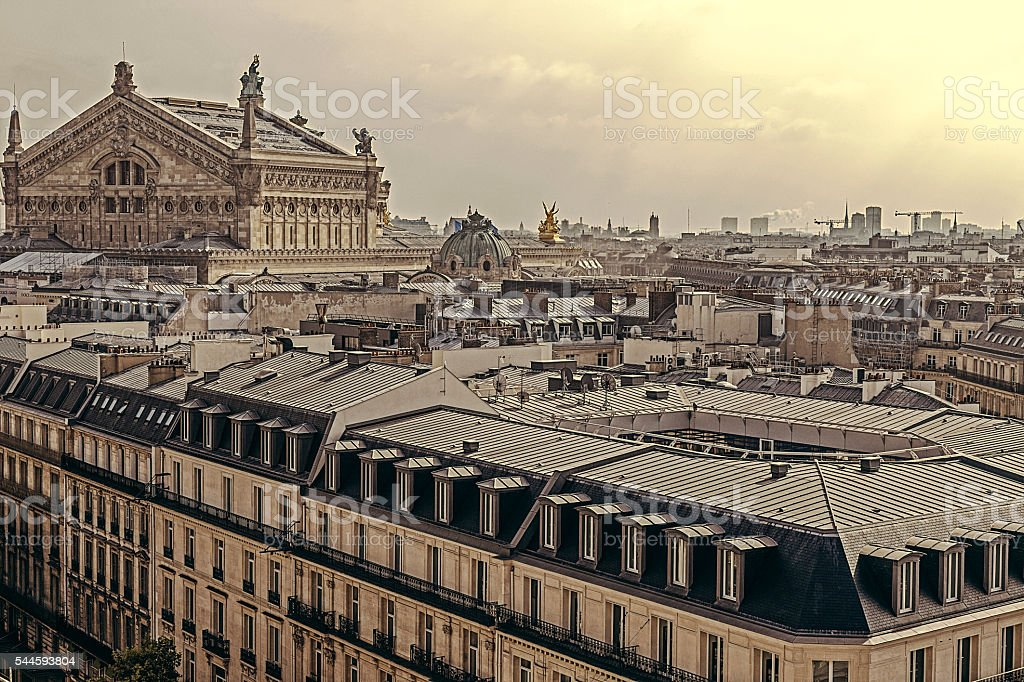 Vintage look with rooftops and Opera Garnier at Paris stock photo