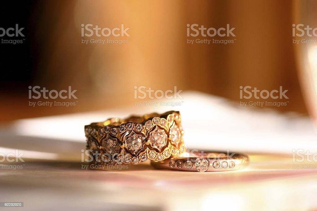 2 vintage looking gold rings with diamonds royalty-free stock photo