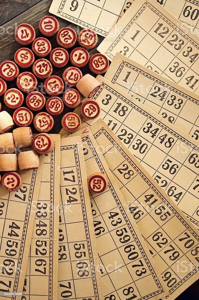 Vintage lotto: kegs and cards stock photo