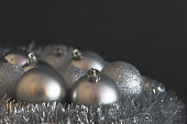 Vintage low contrast photo of shiny and bright silver christmas
