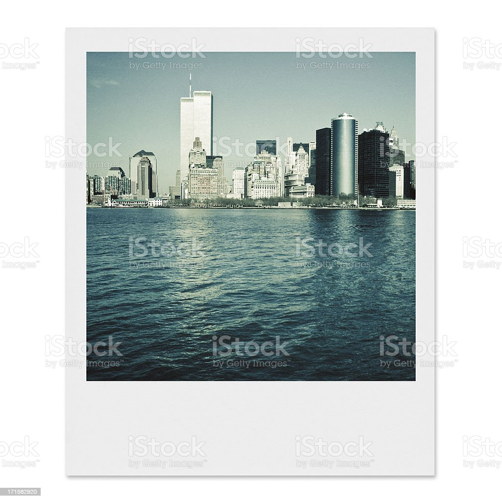 Vintage Lower Manhattan skyline stock photo