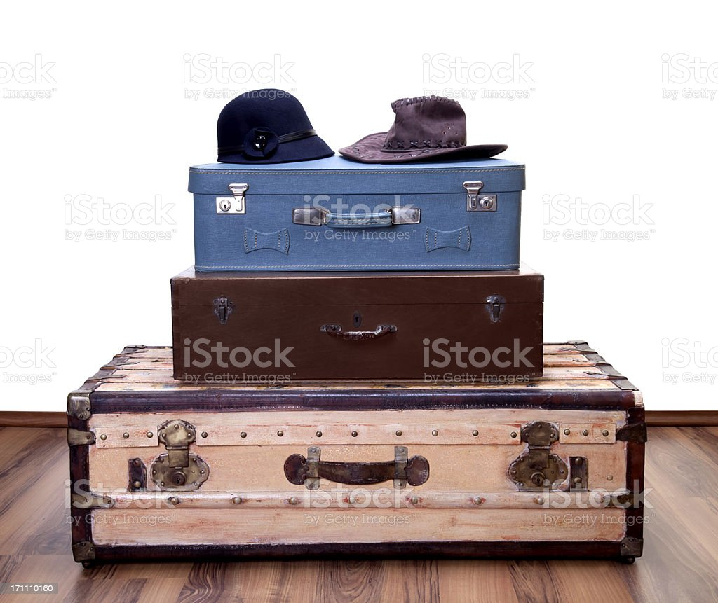 vintage luggages with two hat royalty-free stock photo