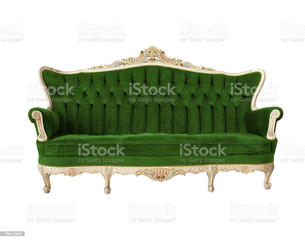 vintage luxury sofa color green on white background royalty-free stock photo