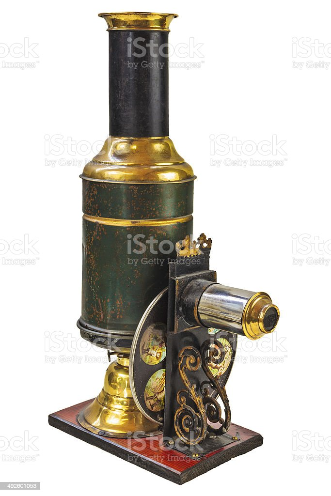 Vintage magic lantern projector isolated on white royalty-free stock photo