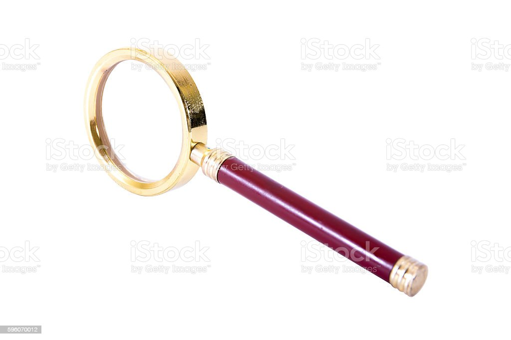 Vintage magnifying glass isolated on white background stock photo