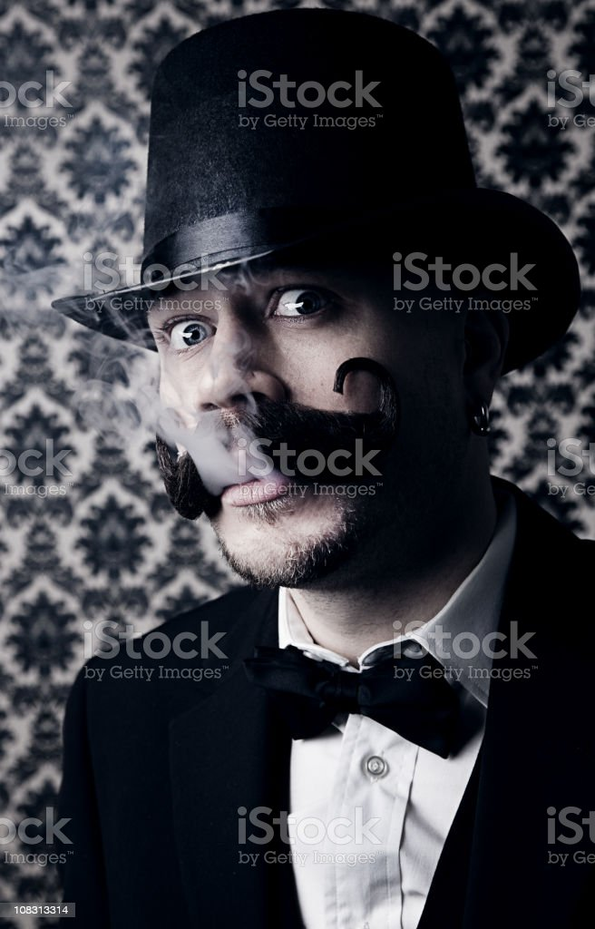 Vintage Man with Smoke royalty-free stock photo