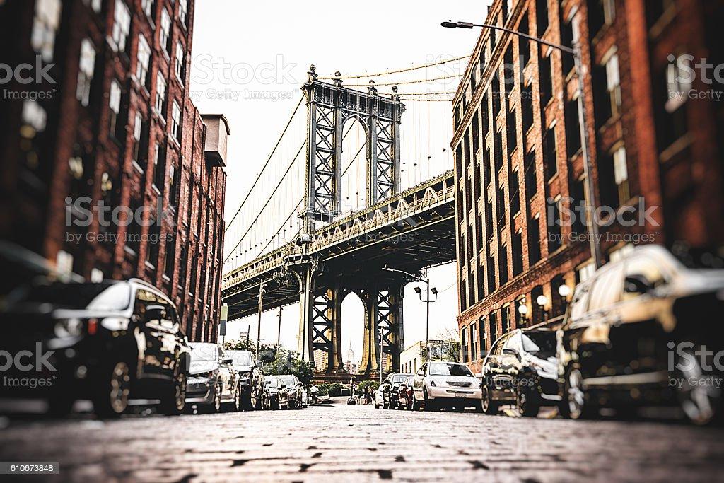 Vintage manhattan bridge in new york stock photo