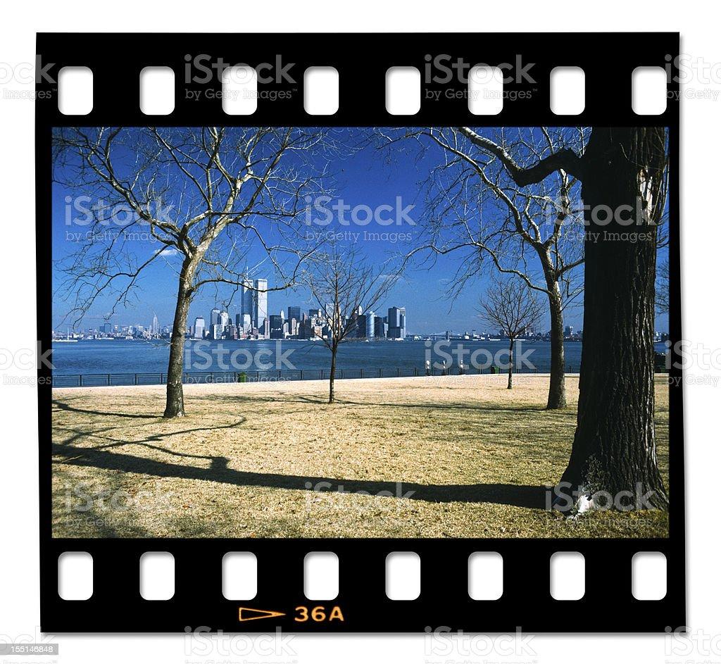 Vintage Manhattan from Liberty Island stock photo