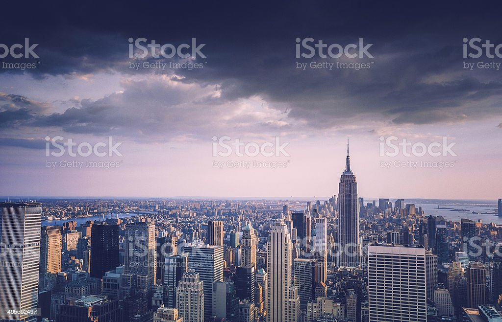 vintage manhattan skyline royalty-free stock photo