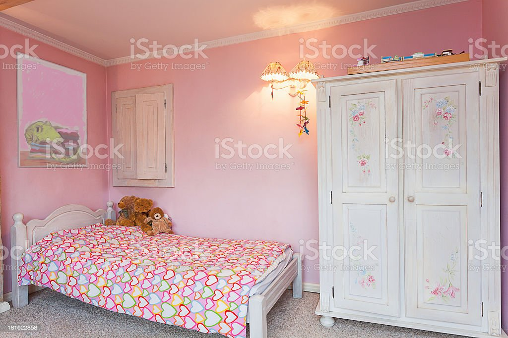 Vintage mansion - pink bedroom royalty-free stock photo