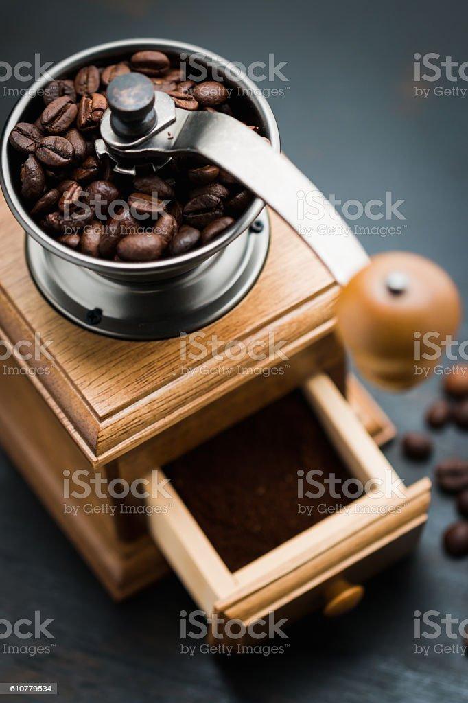 Vintage manual coffee grinder stock photo