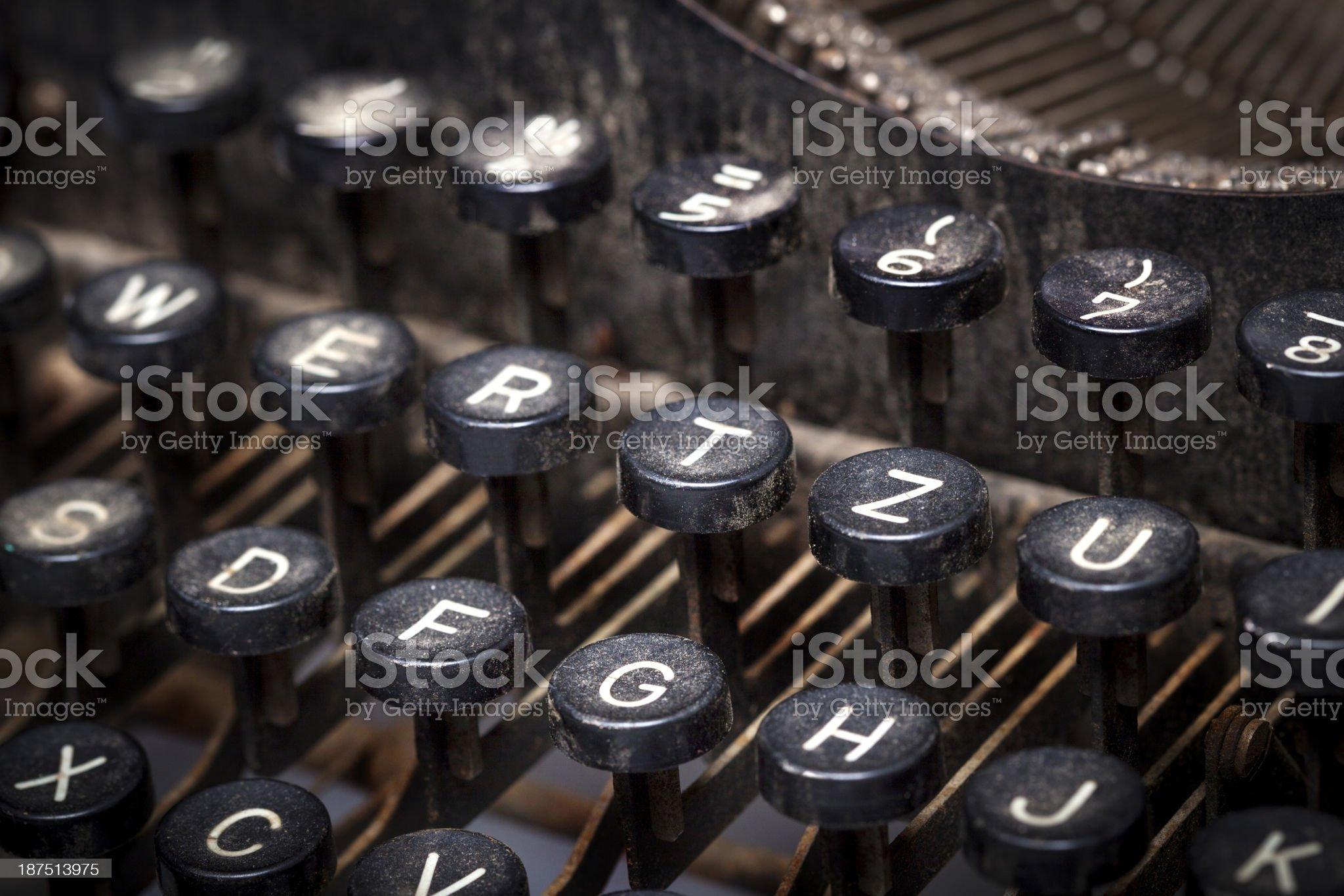 Vintage manual typewriter, dirty and rusty royalty-free stock photo