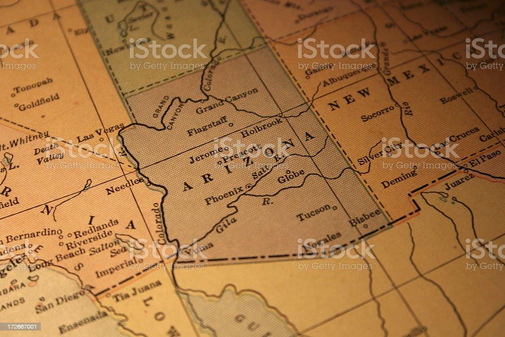 vintage map of Arizona stock photo