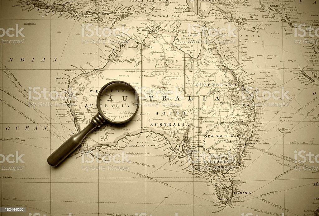 Vintage Map Of Australia stock photo